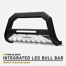 Stehlen 733469492948 Advance Series Aluminum LED Bull Bar - Matte Black/Brush Aluminum Skid Plate For 2007-2014 Toyota FJ Cruiser