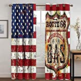 JGTQ 3D Cortina Visillos Salon Bandera Estadounidense con Ojales Cortinas Ventana para Habitación Salón 2 Piezas Opacas Cortina Termicas Aislantes,Proteccion Intimidad 280x250 Cm(W x H)
