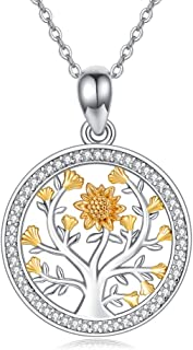 Tree of Life Necklace /14K Gold Plated Sunflower Necklace / Lotus Flower Yoga Om Aum Ohm Symbol Pendant Necklace 925 Sterling Silver Fashion Gifts for Men Women Daughter Wife Mother on Birthday Anniversary