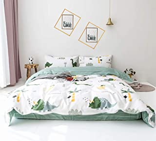 Wellboo Boys Duvet Covers Dinosaur Cartoon Twin Cotton Bedding Sets Animals Tree Forest White Reversible Comforter Covers Green Striped Kids Children Soft Health Durable 2 Pillowcases No Comforter