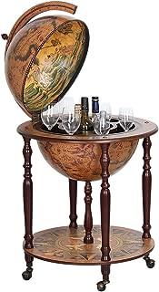 Wood Globe Wine Bar Stand 16th Century Italian Rack Liquor Bottle Shelf Globe Diameter: 17.72