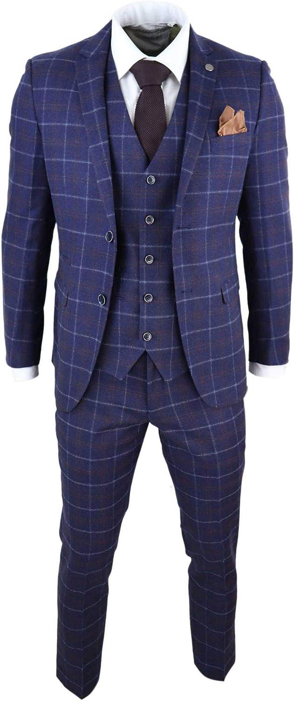 Mens 3 Piece Blue Suit Herringbone Tweed Check Tailored Fit 1920s Wedding Prom