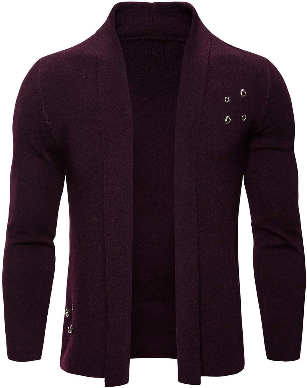 Soluo Mens Long Sleeve Open Front Lightweight Knit Cardigan Sweaters Overcoat Outwear (Purple,Large)