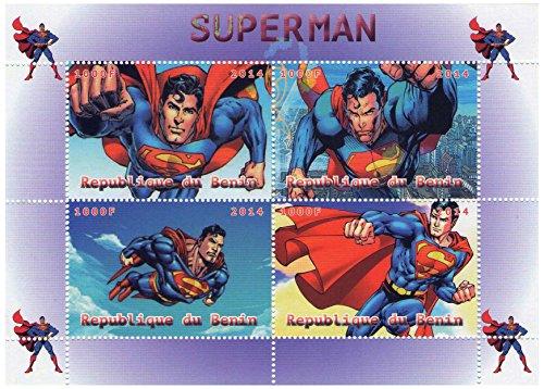 Stampbank Marvel Superman feuille de timbres comique pour les collectionneurs - 4 timbres 2014 / République du Bénin/MNH