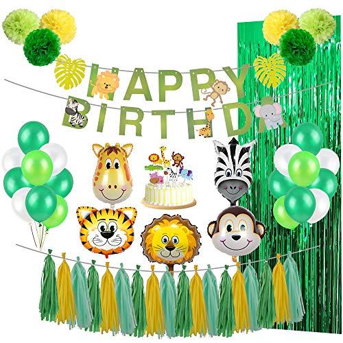 Parsion Dschungel Geburtstag Dekorationen Junge- Kindergeburtstag Deko Happy Birthday Girlande mit Palmblättern, Luftballons und Safari Wald Tier für Kinder Kindergarten Geburtstagsdeko (65 Teil)