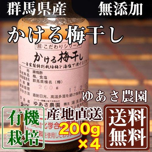 有機JASかける梅干し 200g×4本 (群馬県 ゆあさ農園)有機栽培 梅 無添加 天然塩「海の精」使用 ふるさと21