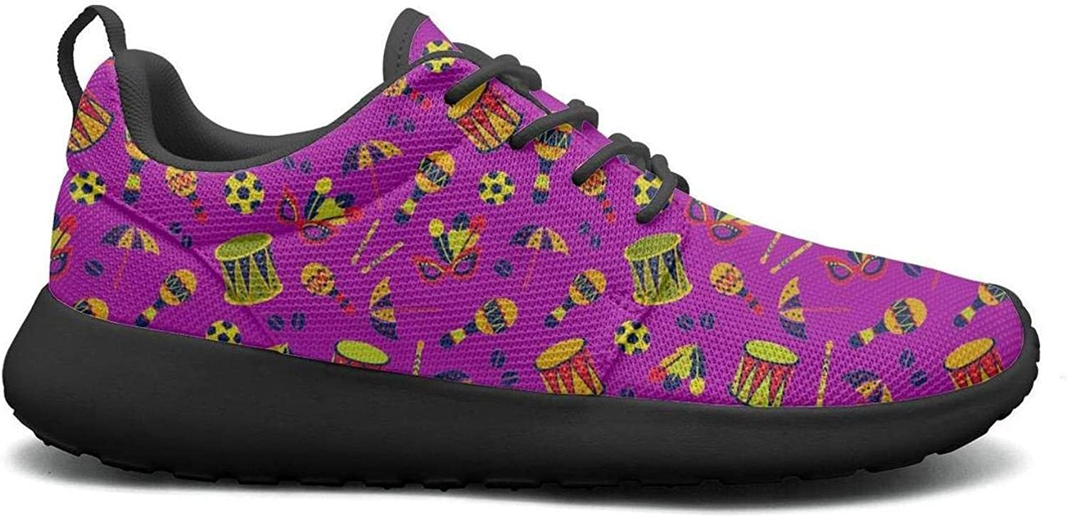 Gjsonmv Colourful Carnival Things Pattern Purple mesh Lightweight shoes for Women Dad Sports Athletic Sneakers shoes