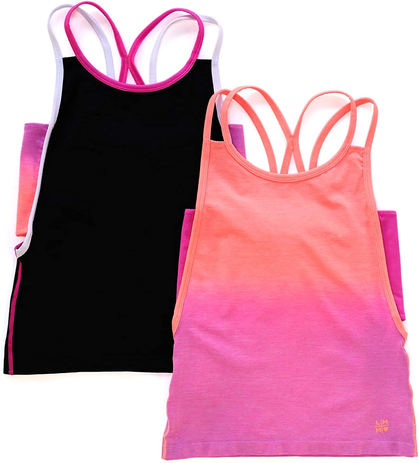 LittleMissMatched Strappy Back Tank 2-Pack (Solid & Ombre Colors)