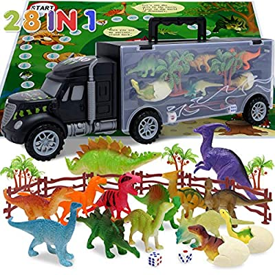 Dinosaur Toys for Kids 3-5,Toddler Toys for Age 3 4 5 6 Year Old Boys Girls,Dinosaur Car Toys Carrier with 14pcs Dino Toys,1 Toy Truck,2 Eggs Dinosaurs,Birthday Gift Dinosaur Kids Toys Transport Car