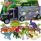Dinosaur Toys for Kids 3-5,Toddler Toys for Age 3 4 5 6 Year Old Boys Girls,Dinosaur Car Toys Carrier with 14pcs Dino Toys,1 Toy Truck,2 Eggs Dinosaurs,Birthday Gift Dinosaur Kids Toys Transport Car