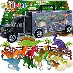 3. MSHALADE Dinosaur Car Toy Carrier Playset (14pcs)