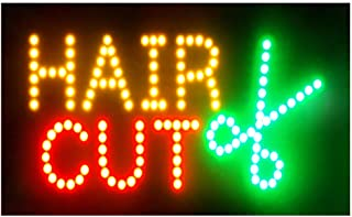 Hair Cuts Sign for Business - Electronic Lighted Sign for Business - Flashing LED Open with a Hanging Metal Chain - Great for Barber Shop, Hair Cutting Store (LED Hair Cut Open Sign)