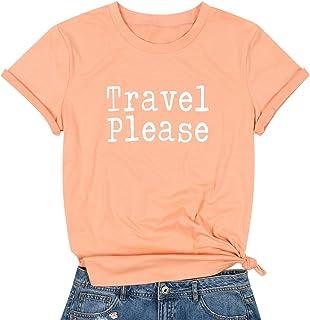 MAXIMGR Travel Please T-Shirt Women Hiking Vacation Tees Shirt Casual Short Sleeve Camper Tee Tops