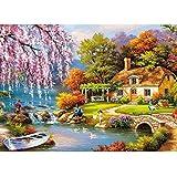 ジグソーパズル 1000ピース 風景 小河とコテージ 42 x 29.7cm 子供向け ミニ パズル Mini Puzzle 家族ゲーム お家で 時間を潰す