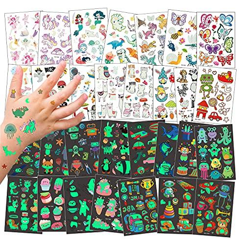 Kaderas Tatuajes Temporales para niños, 30 Hojas Luminosos Temporales Falso Tatuajes, Unicornio Sirena Mariposa Animal Dinosaurio Pirata, Cumpleaños regalo de Fiesta para Infantiles (30pcs)