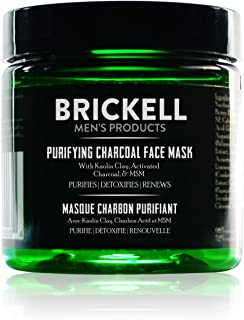 Brickell Men's Purifying Charcoal Face Mask, Natural and Organic Activated Charcoal Mask With Detoxifying Kaolin Clay, 4 Ounce, Scented