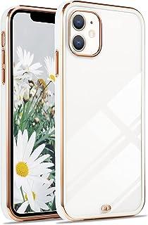 XCYYOO Silicone Coque pour iPhone 12,Coque de Protection Ultra Fine en Transparent Antichoc avec Cadre doré Housse de Prot...