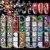 Kalolary 4 caja Lentejuelas de uñas de copo de nieve, Árbol de Navidad holográfico copos de nieve...