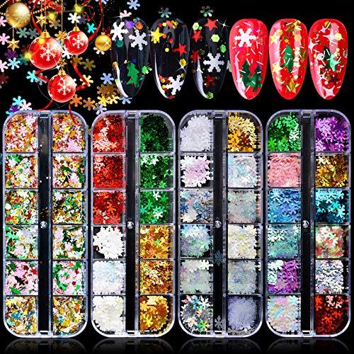 Kalolary 4 scatola Paillettes per unghie con fiocco di neve, Paillettes per nail art con stelle dell'albero di Natale con fiocco di neve olografico Lucide decorazioni natalizie per nail art