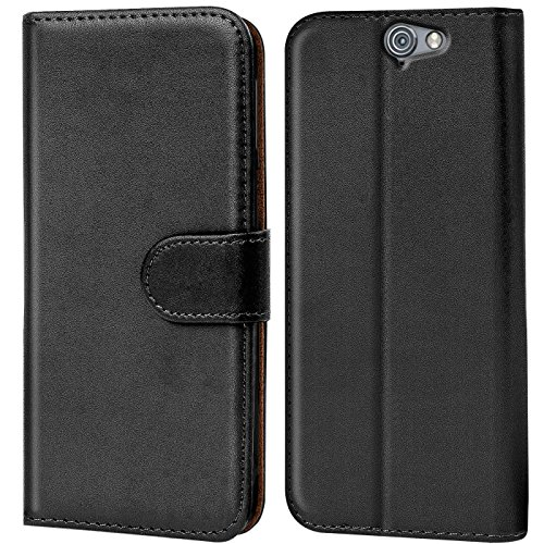 Verco One A9 Hülle, Handyhülle für HTC One A9 Tasche PU Leder Flip Hülle Brieftasche - Schwarz