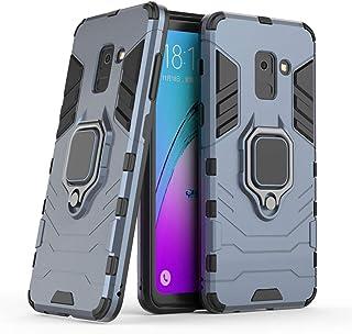 متوافق مع حافظة Galaxy A8 (2018)، مسند معدني ذو قبضة دائرية قوية مضادة للصدمات (يعمل مع حامل السيارة المغناطيسية) غطاء متي...