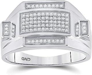 FB جواهر 925 خاتم من الفضة الاسترليني للرجال جولة الماس مستطيلة العنقودية 1/4 Cttw حجم 10 (الحجر الأولي: I3 وضوح؛ G-H اللون)