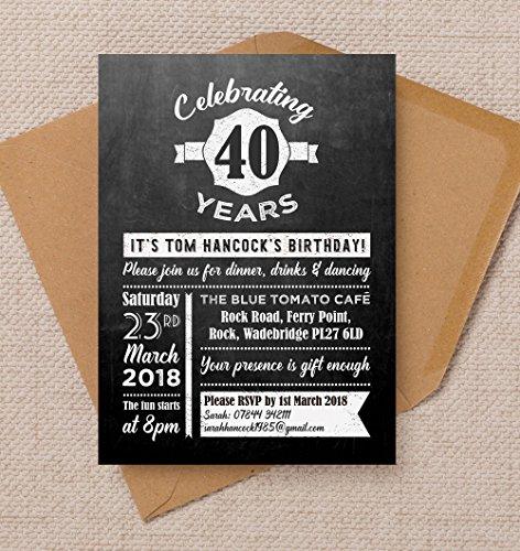 Tableau noir personnalisé Fond d'anniversaire invitations avec enveloppes (lot de 10)