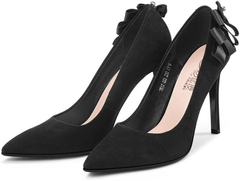 Damen Elegant Ribbon High Heels Frühling Damen Schaffell Smart Spitz Schuhe Arbeiten Hochzeit Pumps