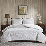 Woolrich Teton Embroidered Plush Coverlet Set Ivory King/Cal King