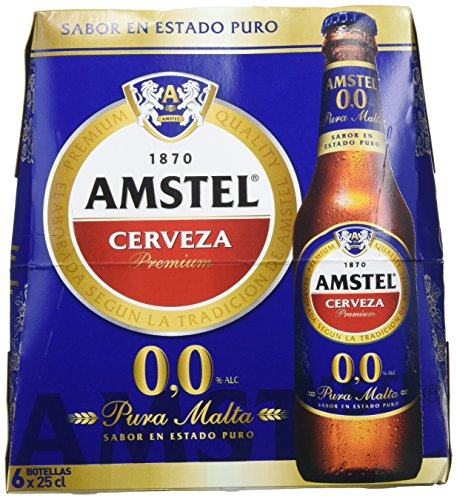 Amstel 00 Cerveza - 4 Packs de 6 Botellas x 250 ml - Total: 6 L