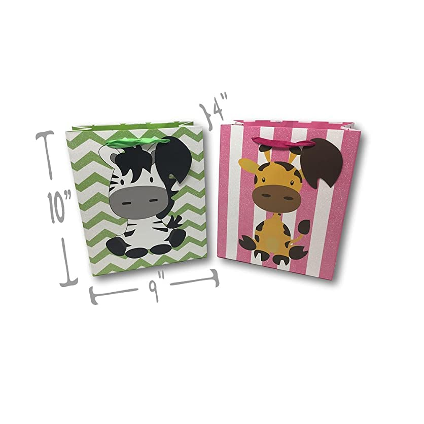 Baby Shower Boy or Girl High Quality Glitter Gift Wrap Bags Printed Inside & Out (2 Pack - Giraffe (Pink White) & Zebra (Green & White) Glitter Bags, Medium 10