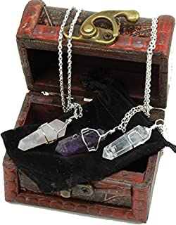 Three Wire Wrapped Crystal Point Pendant Necklaces, Amethyst, Rose Quartz, and Clear Quartz, all in a Velvet Pouch, packag...