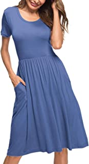 Twinklady Womens Short Sleeve Cotton Sleepwear Button Sleep Shirt Dress Plus Size Casual Maxi Dresses with Pockets Lake Blue XXL