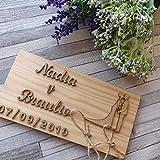 Porta alianzas porta anillos de boda en madera natural rúst