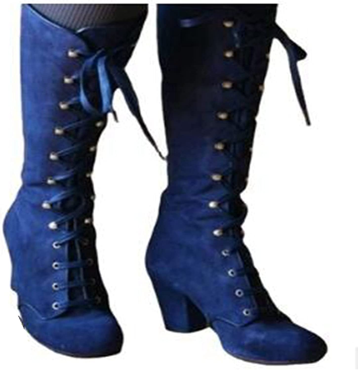 Bcshiye Women's Riding Booties Mid Calf Boots Retro Knee High Lace-up Combat Boots Chunky Heel Dress Western Booties