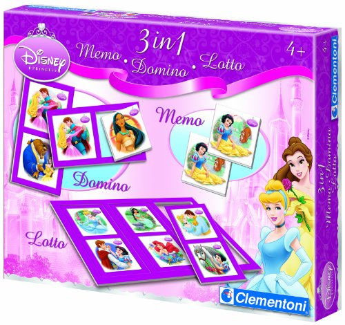 Clementoni - 12591 - Jeu éducatif - Kit 3 in 1 Memo Domino Loto Princesse