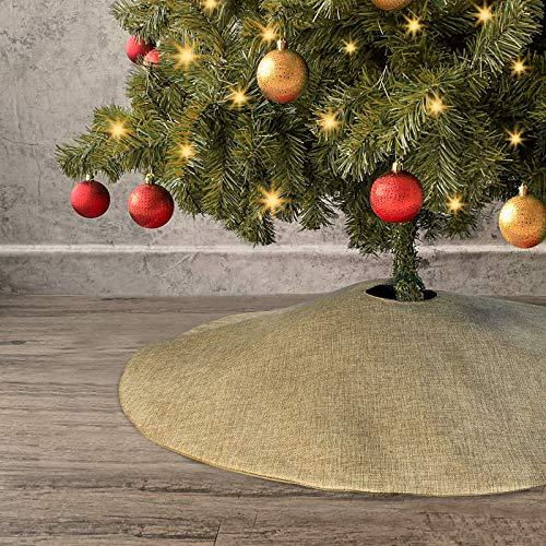 Ivenf Christmas Tree Skirt, 36 inches Burlap Double-Layer Plain Xmas Small Tree Skirt, Rustic Xmas Tree Holiday Decorations