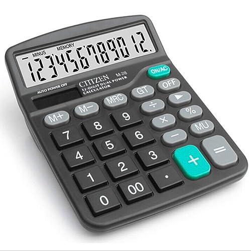 RMYU 12 Digit Desk Calculator Large Buttons Solar Desktop Calculator for School Home Office - Battery Included(Black)