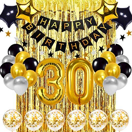 30 Geburtstag Dekoration Schwarzes Gold, 30 Geburtstag Dekoration Set, Geburtstag Party Deko mit Happy Birthday Banner Konfetti Luftballons Herz Folienballons für Mädchen JungenParty