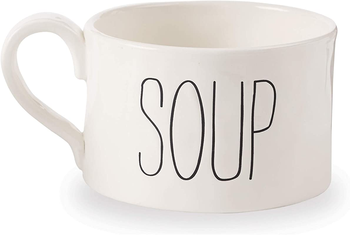 Mud Pie 43600006S Farmhouse Oversize Soup Mug One Size White
