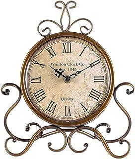 LXDDP Horloge Table Vintage, Horloge Bureau Style européen en Fer sans coutil Silencieux, Horloge Bureau sans coutil à Pil...