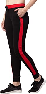 American-Elm Black Slim Fit Cotton Track Pant for Women Running Jogger Pant (Black, Red_M)