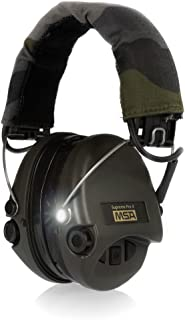 MSA Sordin Supreme Pro X with LED Light - Electronic EarMuff with camo-band, green cups and gel seals fitted