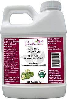 Organic Verdana USDA Certified Organic Pure Cold-Pressed Castor Oil, Unrefined, Filtered, Hexane-Free, 16 Fl. Oz, Caster Oil for Hair, Eyelash, Eyebrow