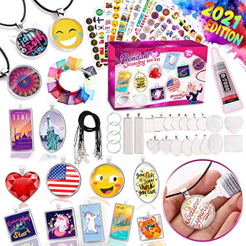 GoodyKing Jewelry Making Art Supplies for Girls - Arts and Crafts DIY Kit Assorted Cabochon Necklace Pendants Bracelet Keychain Craft for Kids Children Ages 6 7 8 9 10 Years Old Handmade Gift Activity