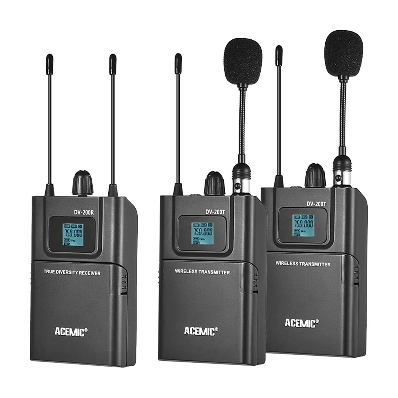 Leslaur ACEMIC DV200 Dual Channel UHF Wireless Microphone System LCD Display 50M Effective Range with 2 Transmitter & 1 Receiver for Canon Nikon Sony DSLR Camera Camcorder Interview Sound Recording