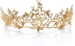 Yean Wedding Crown and Tiara Bridal Princess Queen Crown Baroque Vintage Rhinestone Headband for Bride and Bridesmaid (Gold)