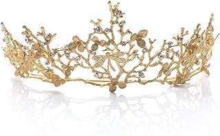 Yean Wedding Crown and Tiara Bridal Princess Queen Crown Baroque Vintage Rhinestone Headband for Bride and Bridesmaid (Gold)