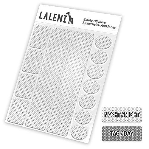 Laleni 13 teiliges Reflektor Set - Reflektoren selbstklebend, Aufkleber für Kinder, Kinderwagen (13 Aufkleber, Silber)