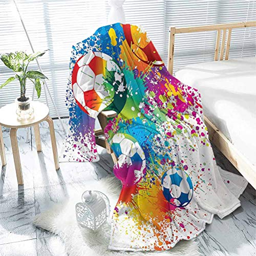 jecycleus Sports Decor Children's Blanket Colored Splashes All Over The Soccer Balls Score World Cup Championship Athletic Artful Print Lightweight Soft Warm and Comfortable W55 x L55 Inch Multi